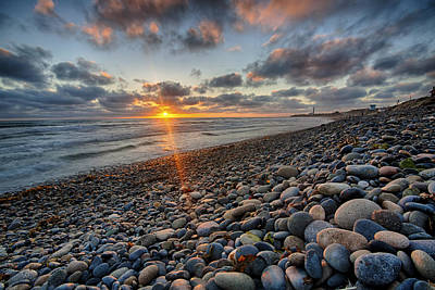 Rocky Coast Sunset Print by Peter Tellone