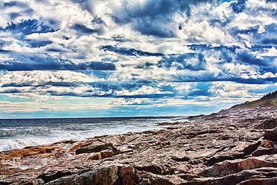 Blue Photograph - Rocky Maine Coastline by Fred Larson