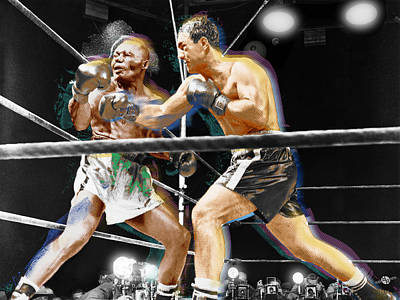 Boxer Mixed Media - Rocky Marciano V Jersey Joe Walcott by Tony Rubino