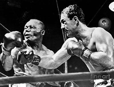 Boxing Photograph - Rocky Marciano Vs Jersey Joe Walcott by Anthony Morretta