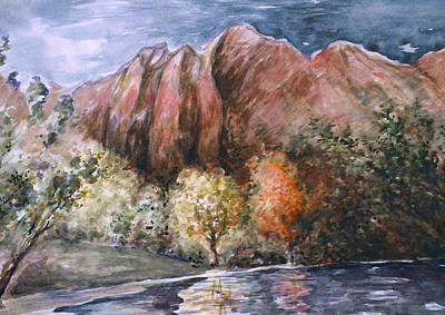 Rocky Mountain Fall Landscape - Water Color Print by Art America Online Gallery