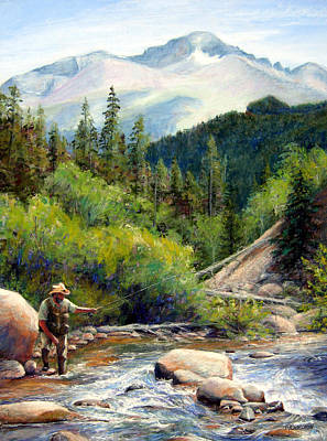 River Painting - Rocky Mountain High by Mary Giacomini