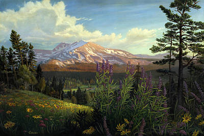 Rocky Mountain Landscape Meadow In Spring Western Panorama With Flowers - Oil Painting Print by Walt Curlee