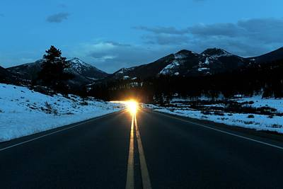 Snowy Night Photograph - Rocky Mountains by Michael Szoenyi