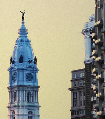Boxing Digital Art - Rocky On Top Of City Hall by Bill Cannon