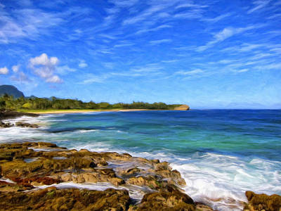 Haleiwa Painting - Rocky Shore Near Poipu by Dominic Piperata