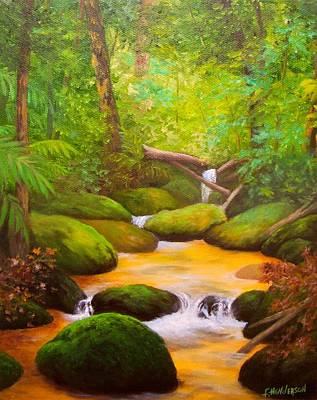 Babbling Brook Painting - Rocky Stream by Francine Henderson