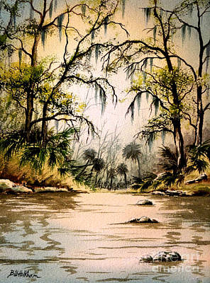 Palmettos Painting - Rocky Waters - Econfina River by Bill Holkham