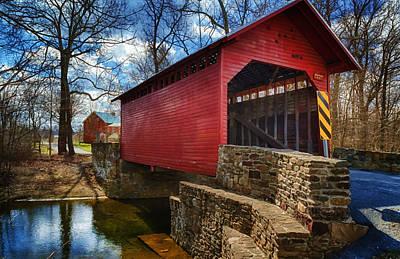 Historical Bridges Digital Art - Roddy Road Covered Bridge by Joan Carroll