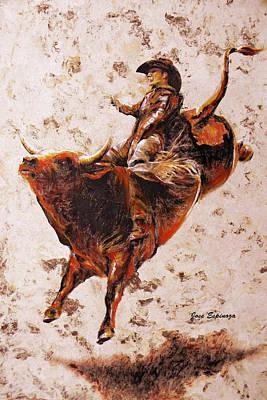 Handmade Paper Mixed Media - Rodeo 2 by Jose Espinoza