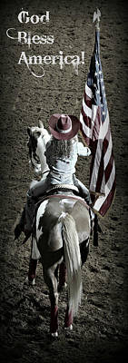 Cowboy Hat Photograph - Rodeo America - God Bless America by Stephen Stookey