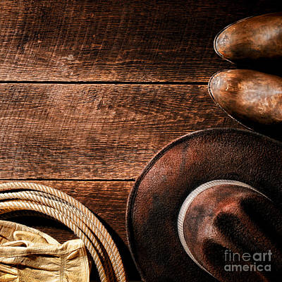 Working Cowboy Photograph - Rodeo Background by American West Decor By Olivier Le Queinec