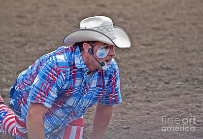 Rodeo Clown Cowboy In Dust Print by Valerie Garner