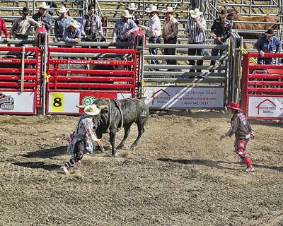 Rodeo Clowns At Work Print by Ron Roberts