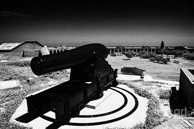 Rodman Civil War Cannon On Gun Carriage At Fort Jefferson Dry Tortugas National Park Florida Keys Us Print by Joe Fox