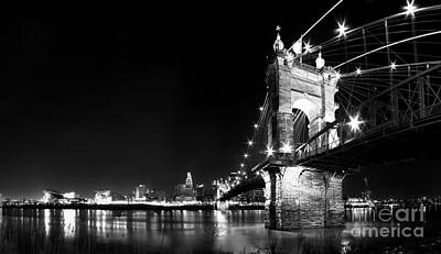 Roebling Bridge In Black And White Print by Twenty Two North Photography