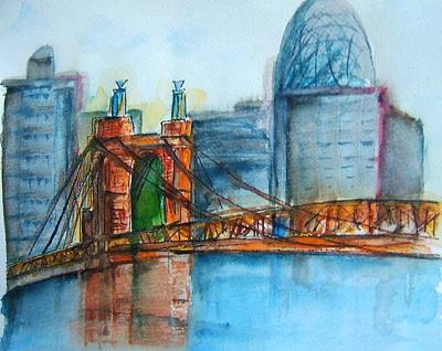 John Roebling Bridge Painting - Roebling Bridge Near Dusk by Elaine Duras