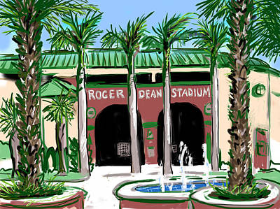 Grapefruit Drawing - Roger Dean Stadium by Jean Pacheco Ravinski