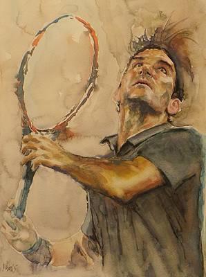 Roger Federer Painting - Roger Federer - Portrait 1 by Baresh Kebar - Kibar