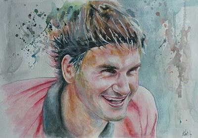 Roger Federer Painting - Roger Federer - Portrait 3 by Baresh Kebar - Kibar