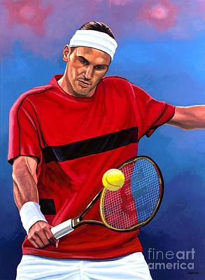Volley Painting - Roger Federer The Swiss Maestro by Paul Meijering