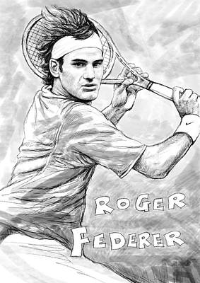 Considering Painting - Roger Federer Art Drawing Sketch Portrait by Kim Wang