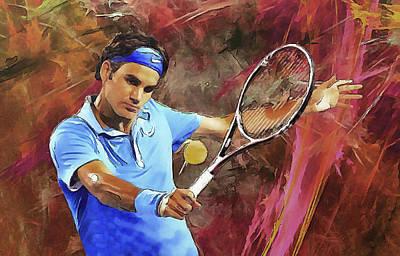Federer Digital Art - Roger Federer Backhand Art by RochVanh