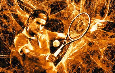 Federer Digital Art - Roger Federer Clay by RochVanh