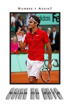 Us Open Digital Art - Roger Federer Number One In 2015 by Joe Paradis