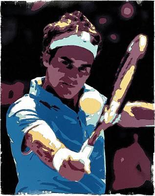 Roger Federer Portrait Art Print by Florian Rodarte