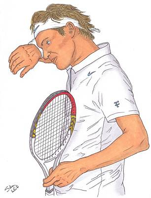 Steven White Drawing - Roger Federer by Steven White