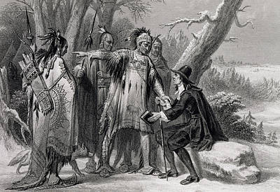 Roger Williams Sheltered By The Narragansetts Print by James Charles Armytage