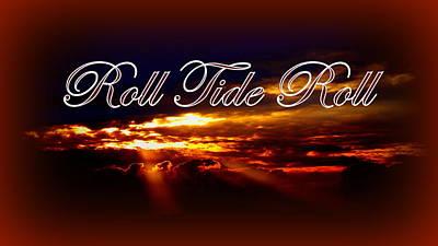 Roll Tide Roll W Red Border - Alabama Print by Travis Truelove