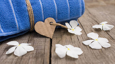 Unwind Photograph - Rolled Up Towel And Paper Heart by Aged Pixel