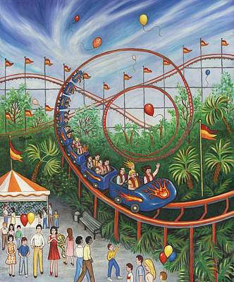 Children Painting - Roller Coaster by Linda Mears