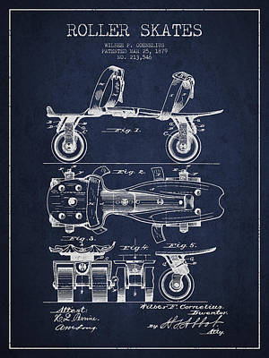 Roller Skate Patent Drawing From 1879 - Navy Blue Print by Aged Pixel