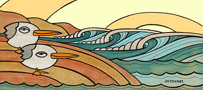 Surfing Art Mixed Media - Rollers At Birdy Beach by Joe Vickers