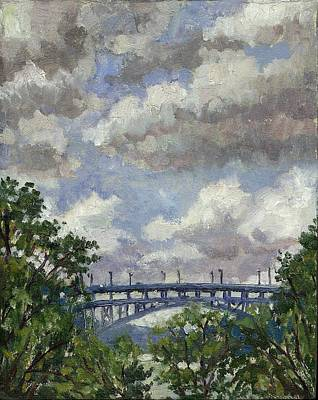 Urban Subway Painting - Rolling Clouds Henry Hudson Bridge From Inwood by Thor Wickstrom
