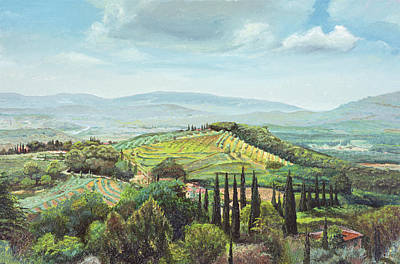 Rolling Hills, Pistoia, Tuscany Oil On Canvas Print by Trevor Neal