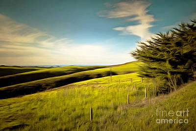 Rolling Landscape Hills Of Point Reyes National Seashore California Dsc2411brun Print by Wingsdomain Art and Photography