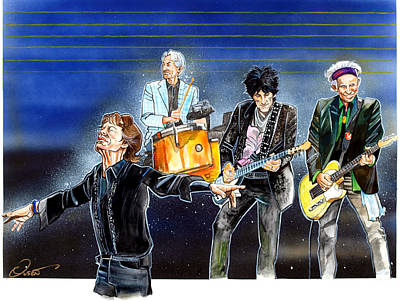 Keith Richards Drawing - Rolling Stones At T D Garden by Dave Olsen