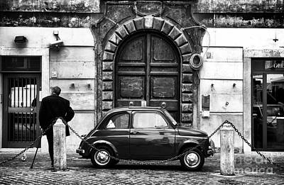 Roma Streets In Black And White Print by John Rizzuto