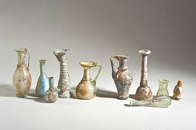 Ceramics Photograph - Roman And Islamic Period Glass Bottles by Science Photo Library