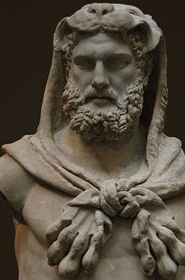 Statue Portrait Photograph - Roman Art. Marble Statue Of A Bearded Hercules Covered With Lions Skin. Early Imperial, Flavian by Bridgeman Images