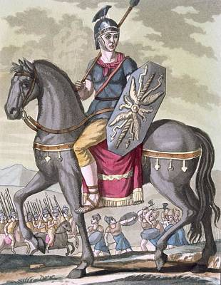 Shield Drawing - Roman Cavalryman Of The State Army by Jacques Grasset de Saint-Sauveur