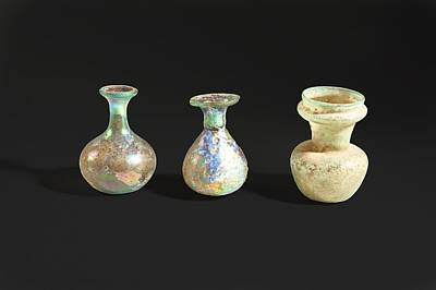 Ceramics Photograph - Roman Glass Bottles And Jar by Science Photo Library
