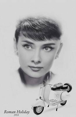 Audrey Hepburn Mixed Media - Roman Holiday by Steve K