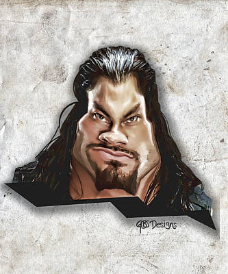 Roman Reigns Caricature By Gbs Print by Anibal Diaz