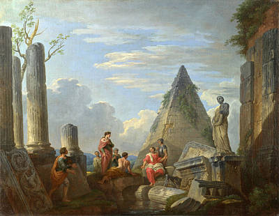 Giovanni Paolo Panini Painting - Roman Ruins With Figures by Giovanni Paolo Panini