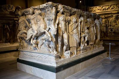 Marble Tomb-stones Photograph - Roman Sarcophagus by Artur Bogacki